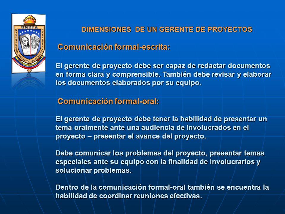 DIMENSIONES DE UN GERENTE DE PROYECTOS Comunicación formal-escrita: DIMENSIONES DE UN GERENTE DE PROYECTOS Comunicación formal-escrita: El gerente de