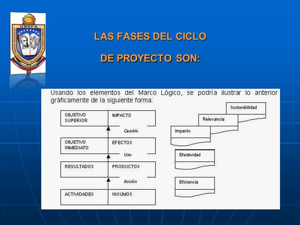 LAS FASES DEL CICLO DE PROYECTO SON: