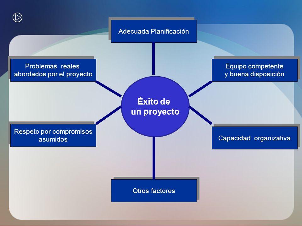 Éxito de un proyecto Adecuada Planificación Problemas reales abordados por el proyecto Problemas reales abordados por el proyecto Respeto por compromi