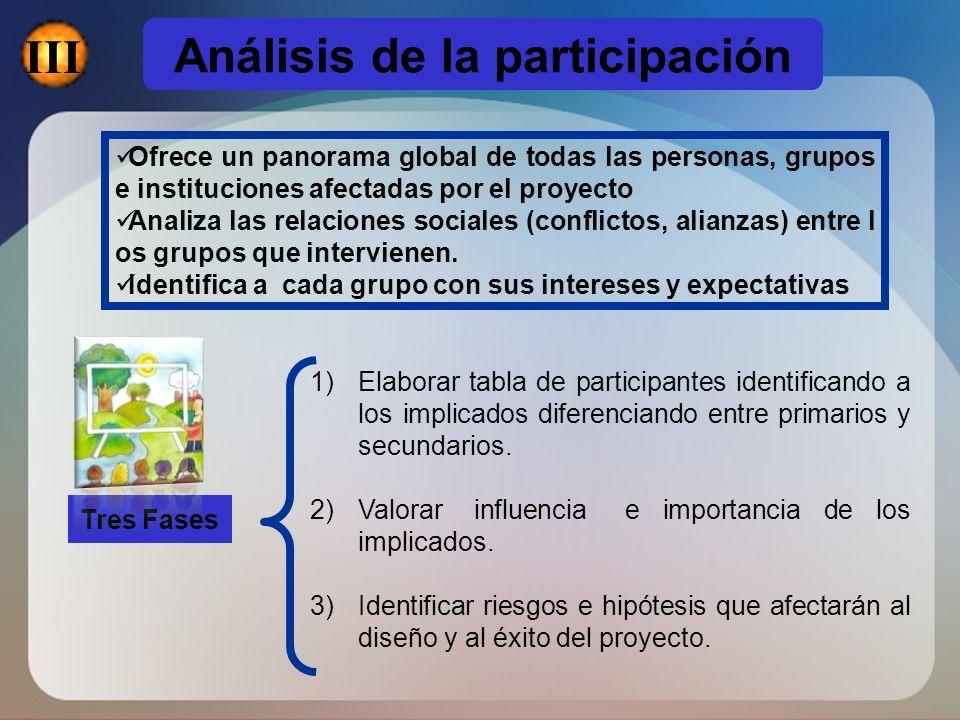 Ofrece un panorama global de todas las personas, grupos e instituciones afectadas por el proyecto Analiza las relaciones sociales (conflictos, alianza