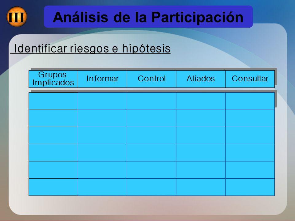 Identificar riesgos e hipótesis Grupos Implicados Grupos Implicados Informar Control Aliados Consultar Análisis de la Participación III