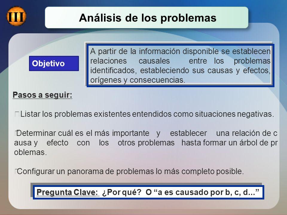 Objetivo A partir de la información disponible se establecen relaciones causales entre los problemas identificados, estableciendo sus causas y efectos