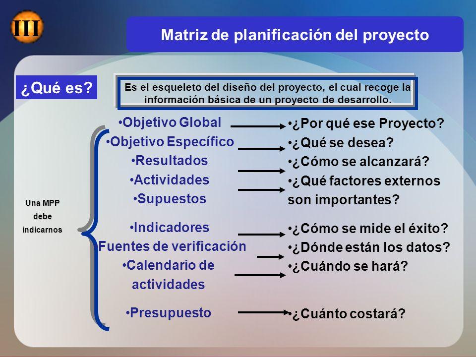 ¿Qué es? Es el esqueleto del diseño del proyecto, el cual recoge la información básica de un proyecto de desarrollo. Una MPP debeindicarnos Objetivo G