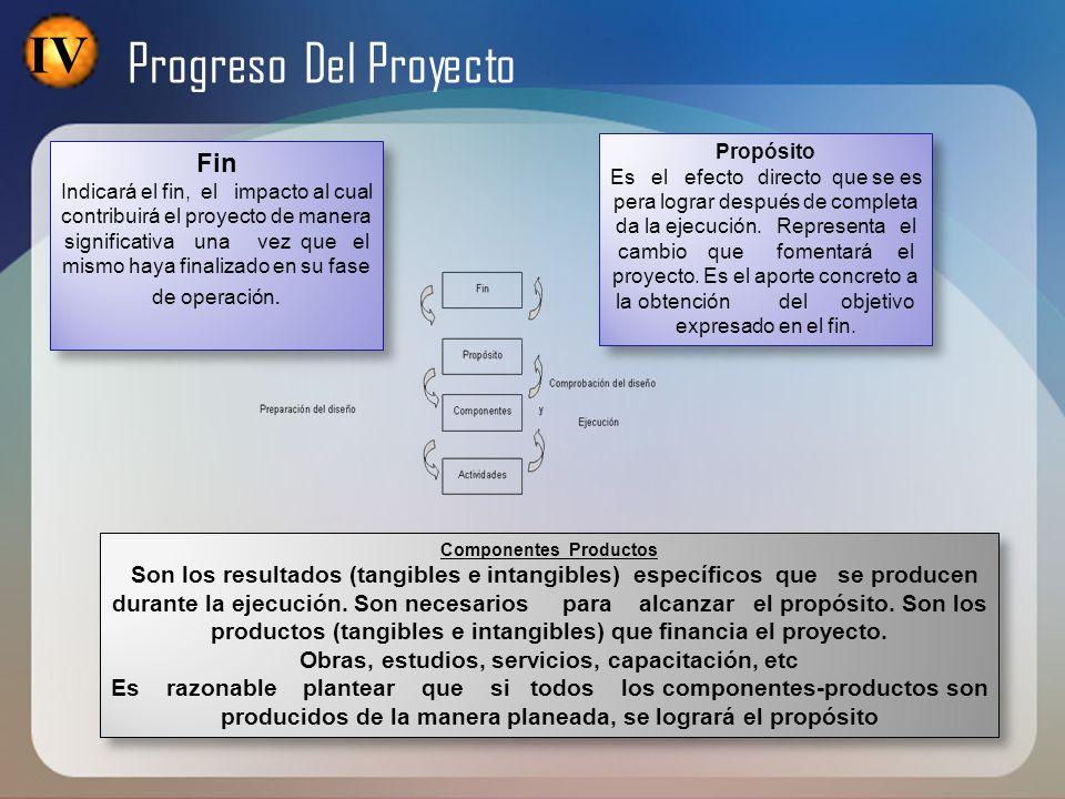 IV Progreso Del Proyecto Fin Indicará el fin, el impacto al cual contribuirá el proyecto de manera significativa una vez que el mismo haya finalizado