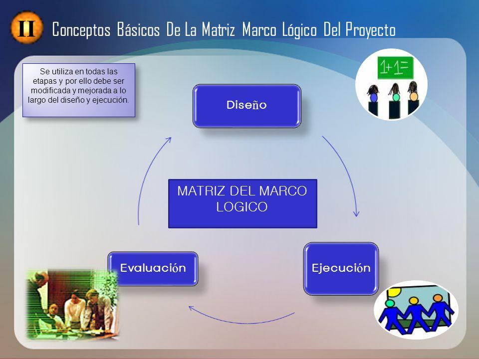 II Conceptos Básicos De La Matriz Marco Lógico Del Proyecto MATRIZ DEL MARCO LOGICO Se utiliza en todas las etapas y por ello debe ser modificada y me