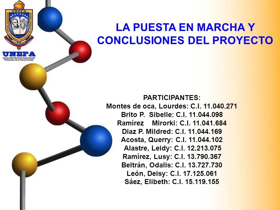LA PUESTA EN MARCHA Y CONCLUSIONES DEL PROYECTO PARTICIPANTES: Montes de oca, Lourdes: C.I. 11.040.271 Brito P. Sibelle: C.I. 11.044.098 Ramírez Miror