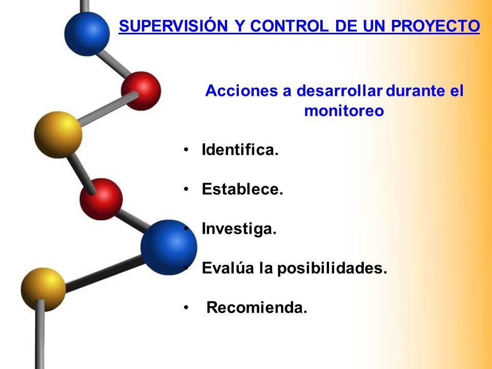 SUPERVISIÓN Y CONTROL DE UN PROYECTO Acciones a desarrollar durante el monitoreo Identifica. Establece. Investiga. Evalúa la posibilidades. Recomienda
