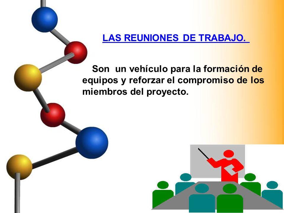 LAS REUNIONES DE TRABAJO. Son un vehículo para la formación de equipos y reforzar el compromiso de los miembros del proyecto.