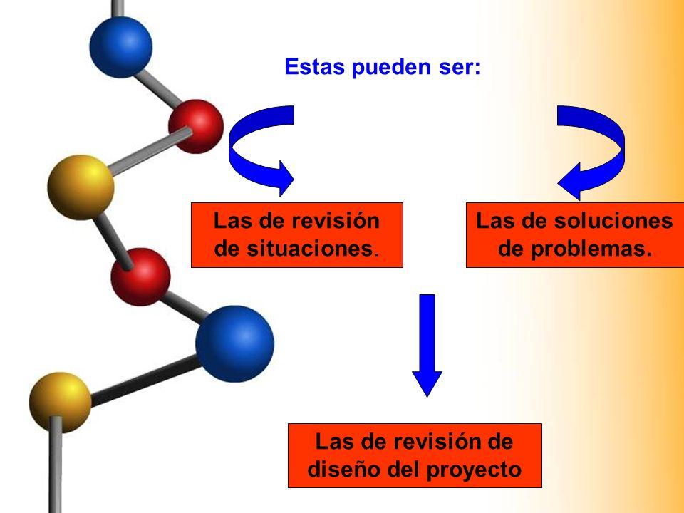 Las de revisión de situaciones. Las de soluciones de problemas. Las de revisión de diseño del proyecto Estas pueden ser: