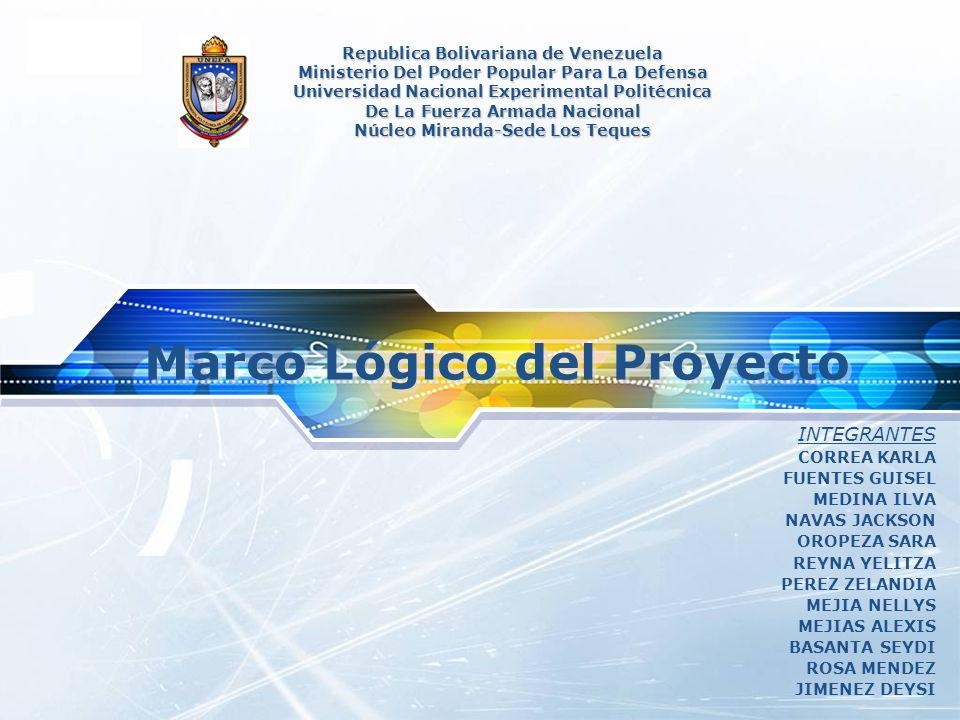 LOGO Marco Lógico del Proyecto Republica Bolivariana de Venezuela Ministerio Del Poder Popular Para La Defensa Universidad Nacional Experimental Polit
