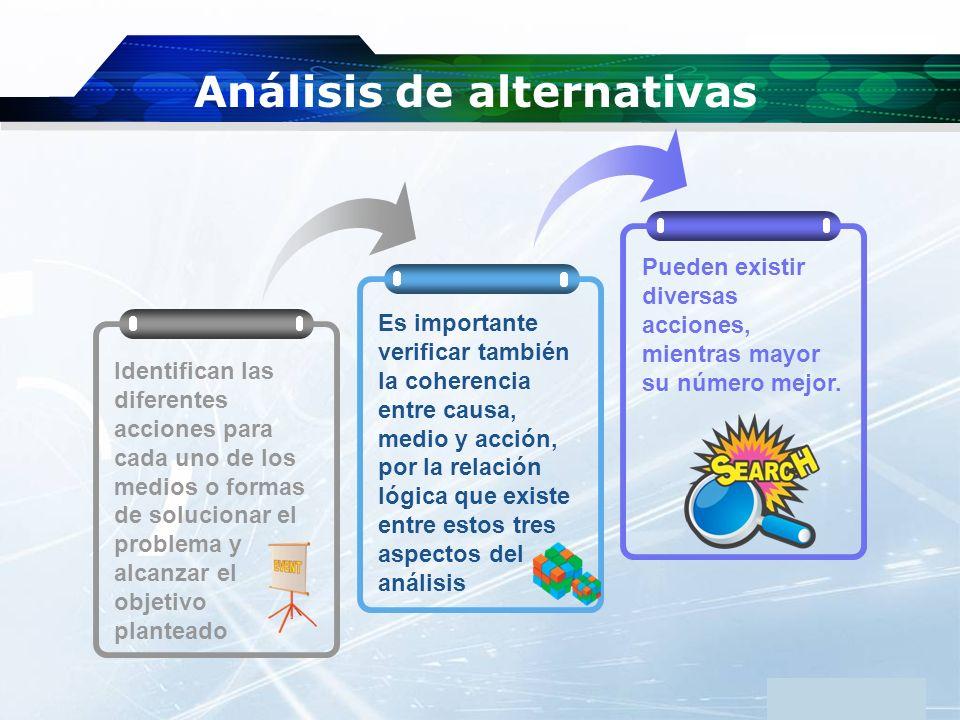 www.themegallery.com Company Logo Análisis de alternativas Es importante verificar también la coherencia entre causa, medio y acción, por la relación