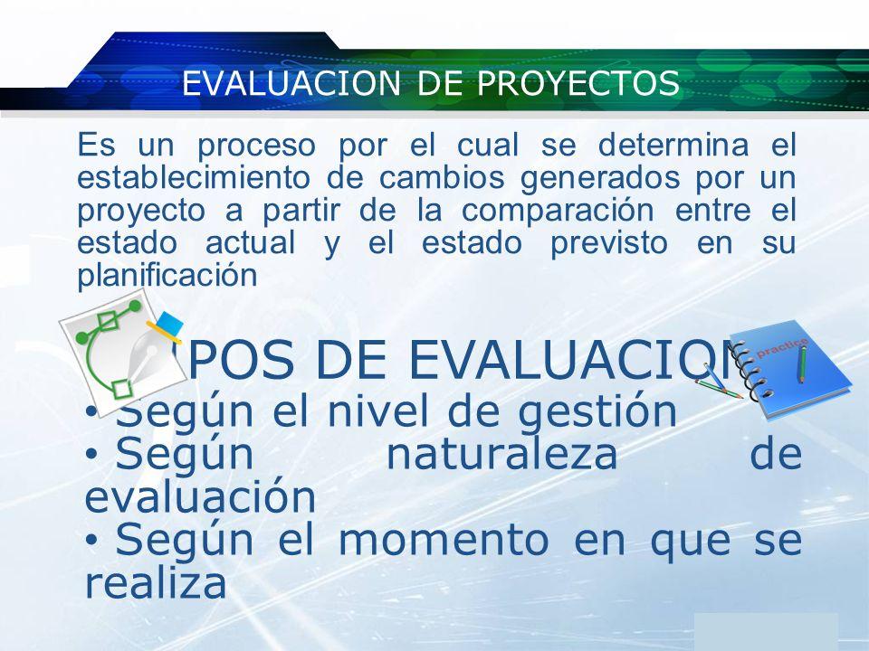 www.themegallery.com Company Logo EVALUACION DE PROYECTOS Es un proceso por el cual se determina el establecimiento de cambios generados por un proyec