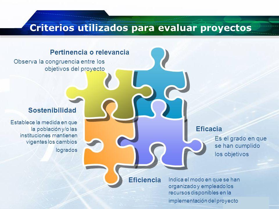 www.themegallery.com Company Logo Criterios utilizados para evaluar proyectos Eficacia Sostenibilidad Pertinencia o relevancia Eficiencia Observa la c