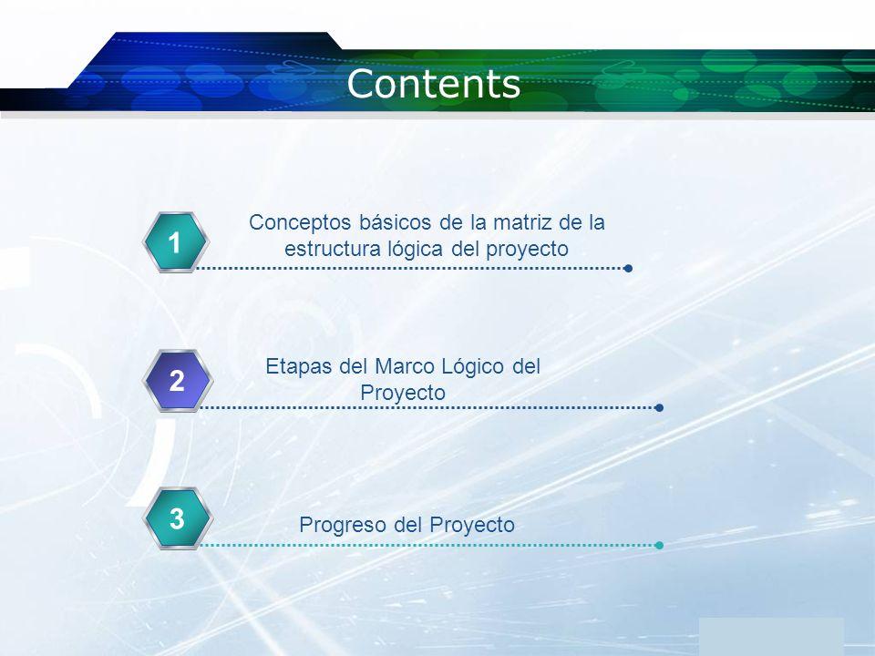 www.themegallery.com Company Logo Contents 1 2 33 Conceptos básicos de la matriz de la estructura lógica del proyecto Etapas del Marco Lógico del Proy