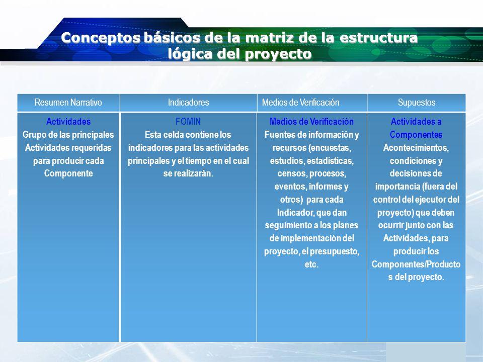 www.themegallery.com Company Logo Conceptos básicos de la matriz de la estructura lógica del proyecto Resumen NarrativoIndicadoresMedios de Verificaci