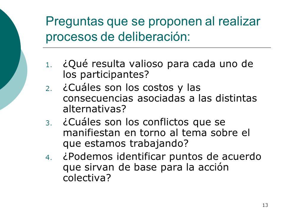 13 Preguntas que se proponen al realizar procesos de deliberación: 1. ¿Qué resulta valioso para cada uno de los participantes? 2. ¿Cuáles son los cost