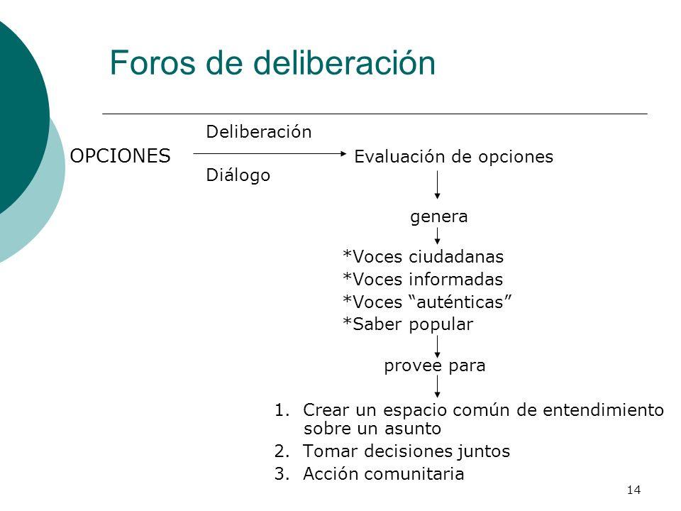 14 Foros de deliberación Deliberación OPCIONES Evaluación de opciones Diálogo genera *Voces ciudadanas *Voces informadas *Voces auténticas *Saber popu