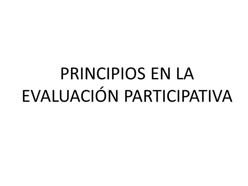 PRINCIPIO DE PARTICIPACIÓN Este principio constituye el pilar esencial del enfoque, que se traduce en la participación de los implicados en todas las fases del proceso de evaluación, desde la toma de la decisión de evaluar hasta el uso final de lo resultados de la evaluación.