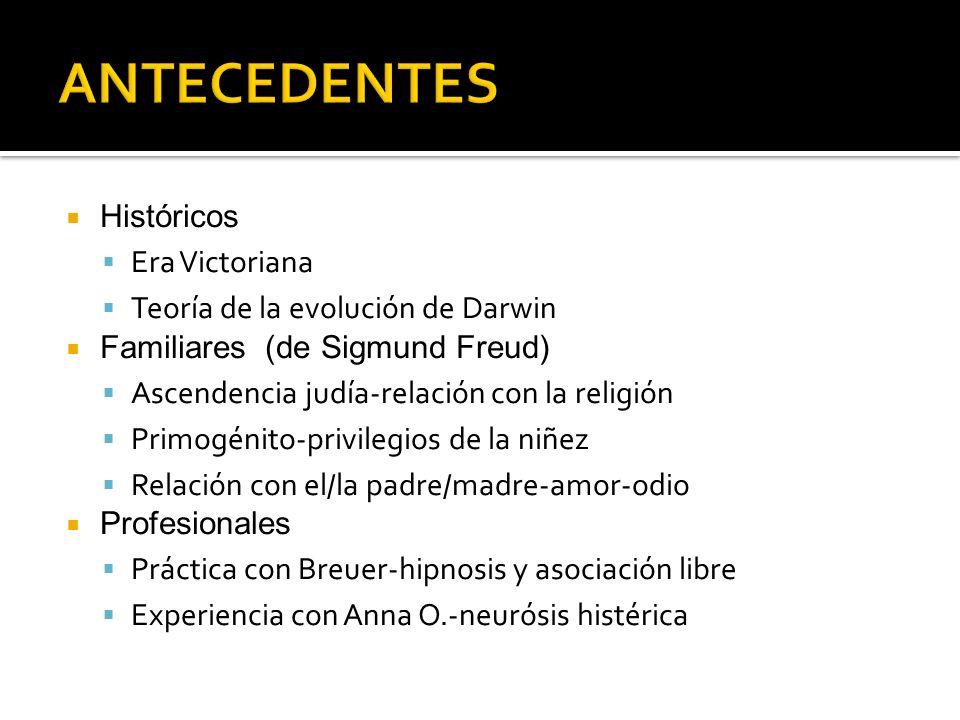 Históricos Era Victoriana Teoría de la evolución de Darwin Familiares (de Sigmund Freud) Ascendencia judía-relación con la religión Primogénito-privil