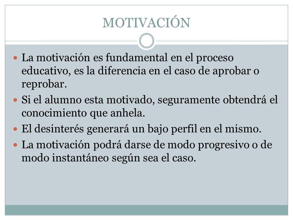 MOTIVACIÓN La motivación es fundamental en el proceso educativo, es la diferencia en el caso de aprobar o reprobar. Si el alumno esta motivado, segura