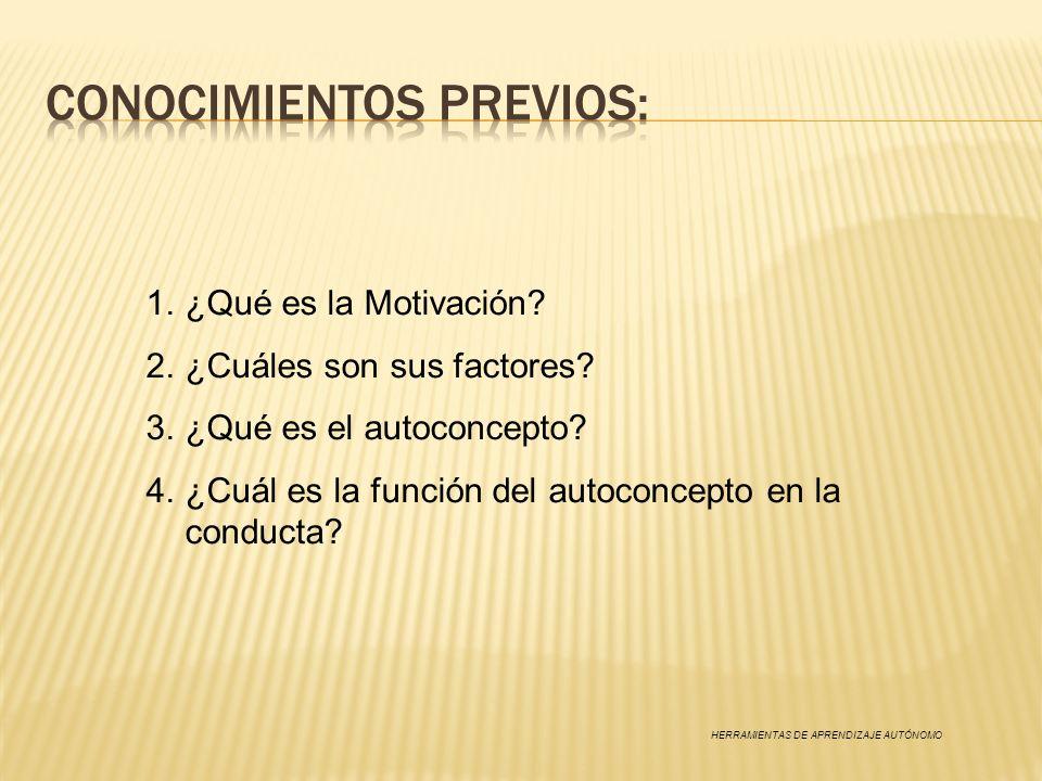 1.¿Qué es la Motivación? 2.¿Cuáles son sus factores? 3.¿Qué es el autoconcepto? 4.¿Cuál es la función del autoconcepto en la conducta? HERRAMIENTAS DE