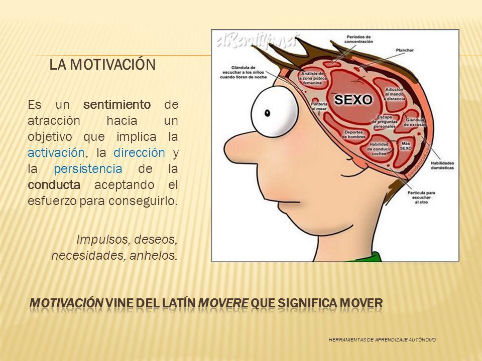 LA MOTIVACIÓN Es un sentimiento de atracción hacia un objetivo que implica la activación, la dirección y la persistencia de la conducta aceptando el e