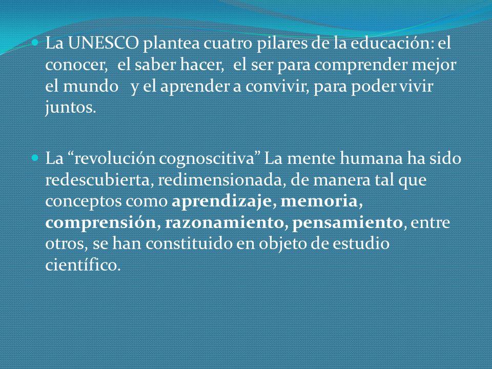 La UNESCO plantea cuatro pilares de la educación: el conocer, el saber hacer, el ser para comprender mejor el mundo y el aprender a convivir, para pod
