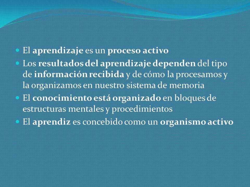 El aprendizaje es un proceso activo Los resultados del aprendizaje dependen del tipo de información recibida y de cómo la procesamos y la organizamos