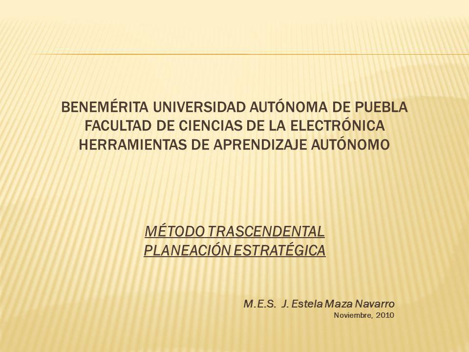 BENEMÉRITA UNIVERSIDAD AUTÓNOMA DE PUEBLA FACULTAD DE CIENCIAS DE LA ELECTRÓNICA HERRAMIENTAS DE APRENDIZAJE AUTÓNOMO MÉTODO TRASCENDENTAL PLANEACIÓN