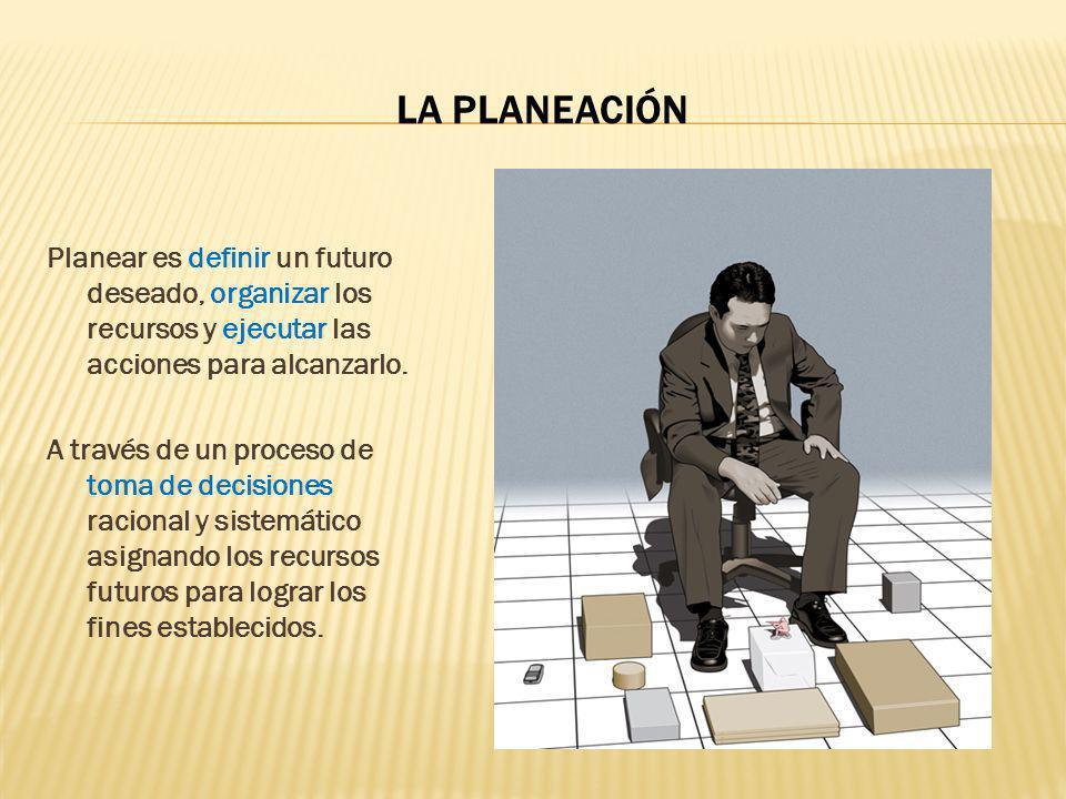 LA PLANEACIÓN Planear es definir un futuro deseado, organizar los recursos y ejecutar las acciones para alcanzarlo. A través de un proceso de toma de