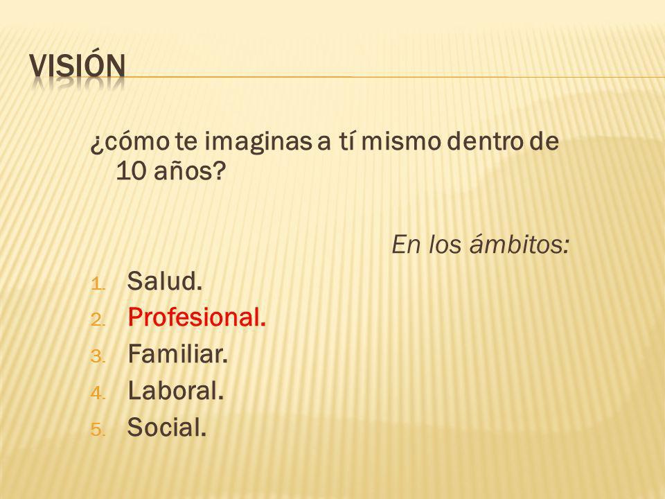 ¿cómo te imaginas a tí mismo dentro de 10 años? En los ámbitos: 1. Salud. 2. Profesional. 3. Familiar. 4. Laboral. 5. Social.