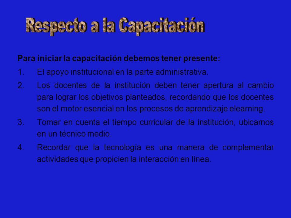 Para iniciar la capacitación debemos tener presente: 1.El apoyo institucional en la parte administrativa.
