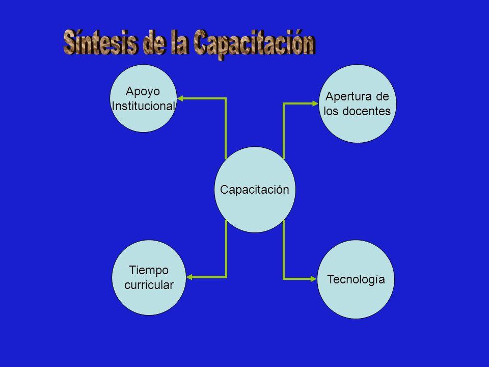 Tecnología Tiempo curricular Capacitación Apoyo Institucional Apertura de los docentes