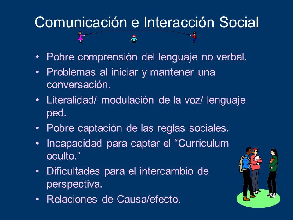 Comunicación e Interacción Social Pobre comprensión del lenguaje no verbal. Problemas al iniciar y mantener una conversación. Literalidad/ modulación