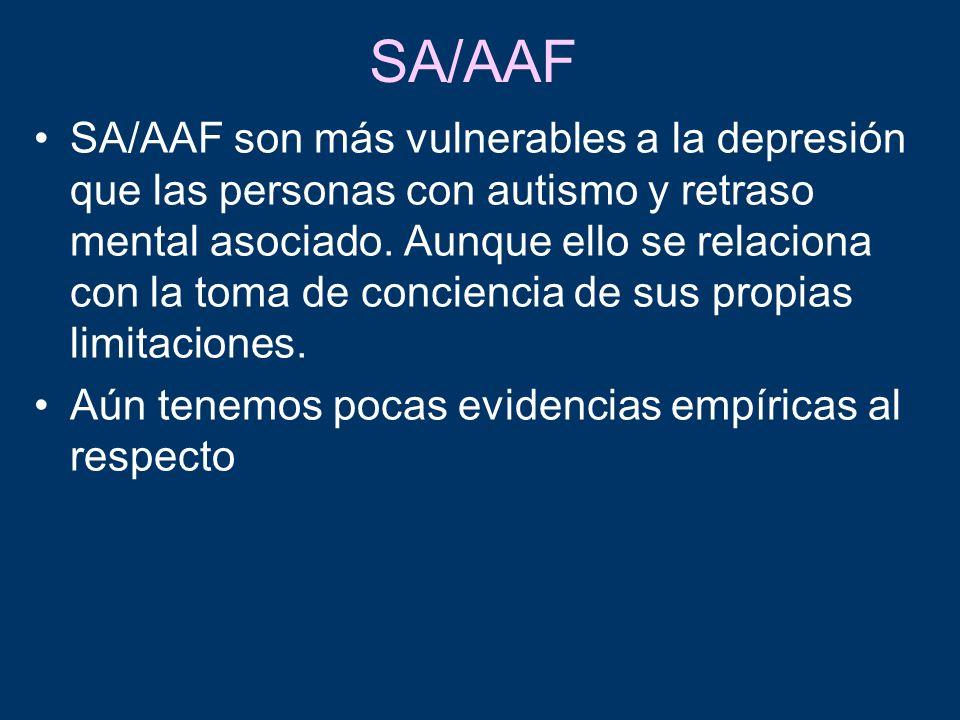 SA/AAF SA/AAF son más vulnerables a la depresión que las personas con autismo y retraso mental asociado. Aunque ello se relaciona con la toma de conci