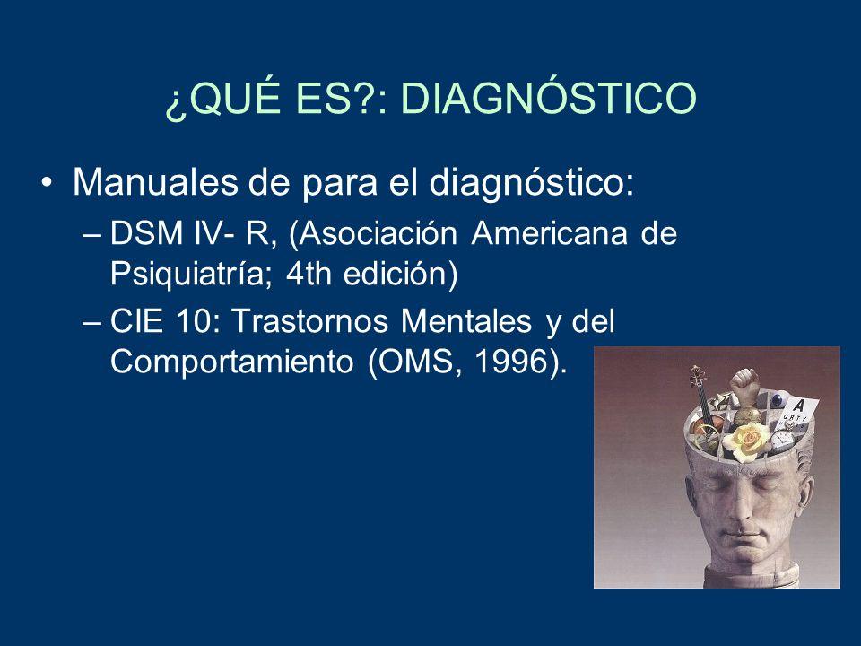 ¿QUÉ ES?: DIAGNÓSTICO Manuales de para el diagnóstico: –DSM IV- R, (Asociación Americana de Psiquiatría; 4th edición) –CIE 10: Trastornos Mentales y d