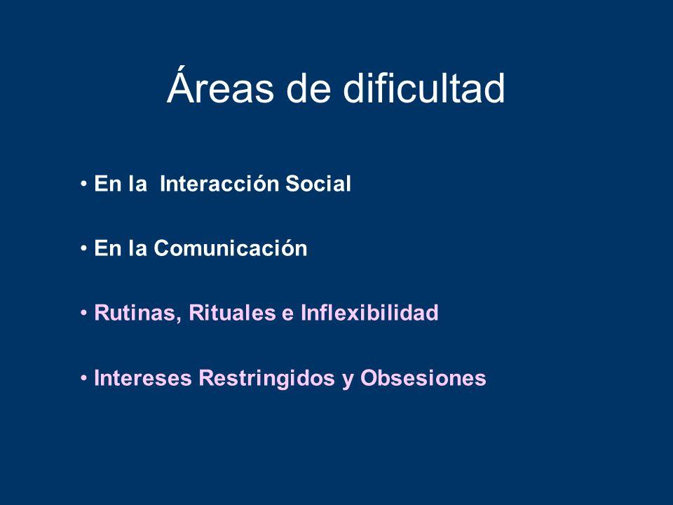 Áreas de dificultad En la Interacción Social En la Comunicación Rutinas, Rituales e Inflexibilidad Intereses Restringidos y Obsesiones