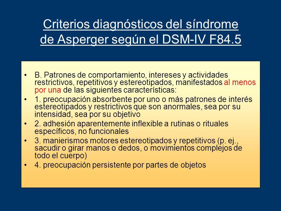 Criterios diagnósticos del síndrome de Asperger según el DSM-IV F84.5 B. Patrones de comportamiento, intereses y actividades restrictivos, repetitivos