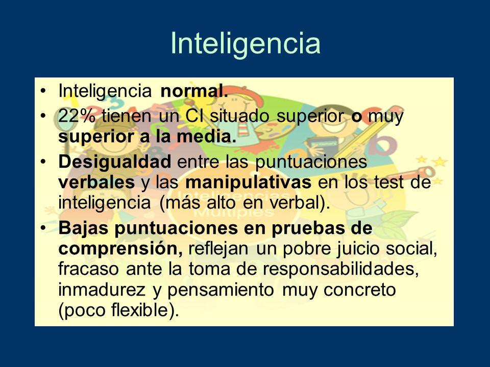 Inteligencia Inteligencia normal. 22% tienen un CI situado superior o muy superior a la media. Desigualdad entre las puntuaciones verbales y las manip