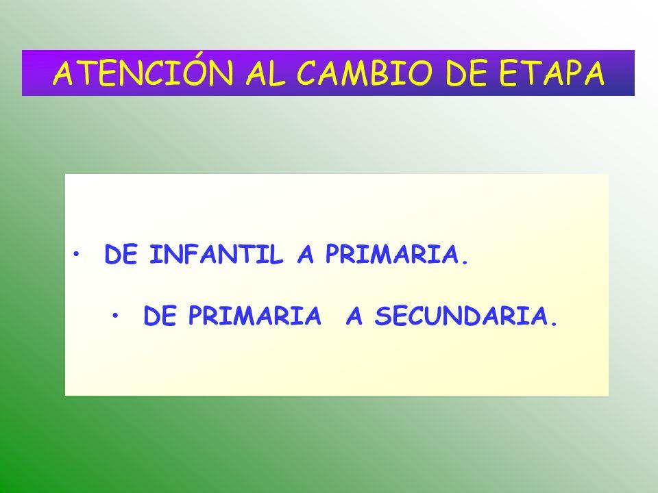 ATENCIÓN AL CAMBIO DE ETAPA DE INFANTIL A PRIMARIA. DE PRIMARIA A SECUNDARIA.