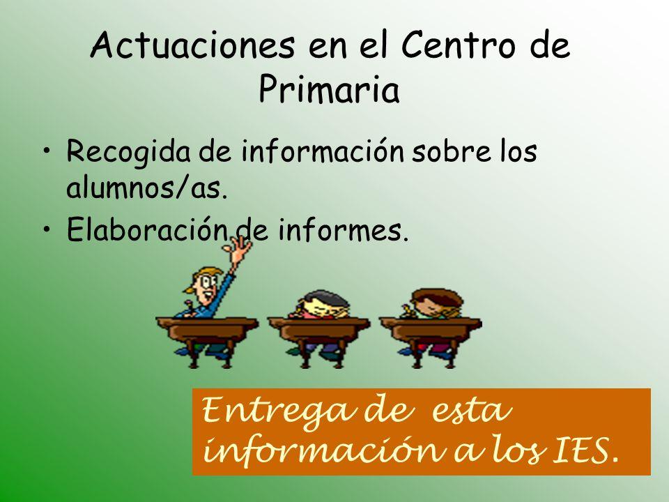 Entrega de esta información a los IES. Actuaciones en el Centro de Primaria Recogida de información sobre los alumnos/as. Elaboración de informes.