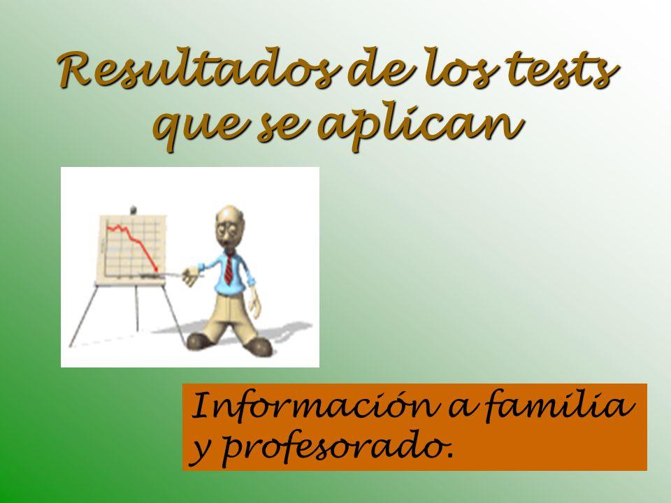 Resultados de los tests que se aplican Información a familia y profesorado.