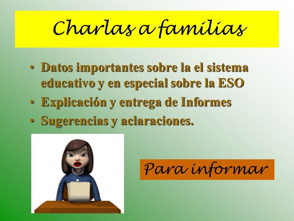 Para informar Charlas a familias Datos importantes sobre la el sistema educativo y en especial sobre la ESODatos importantes sobre la el sistema educa