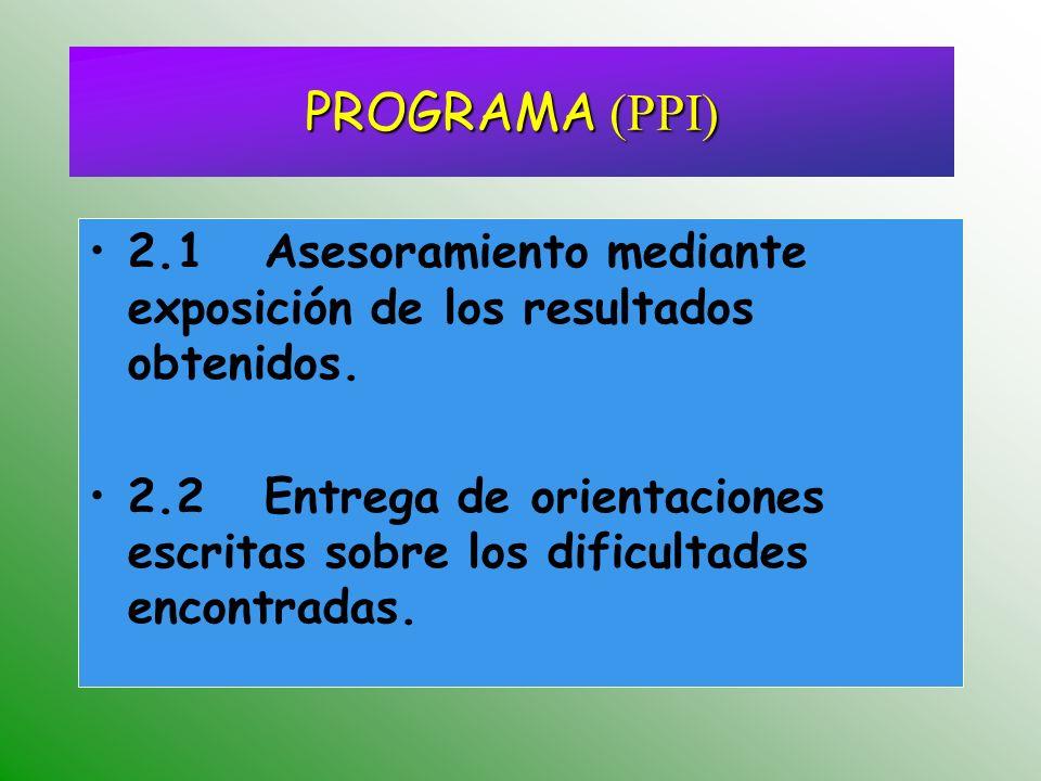 2.1 Asesoramiento mediante exposición de los resultados obtenidos. 2.2 Entrega de orientaciones escritas sobre los dificultades encontradas. PROGRAMA
