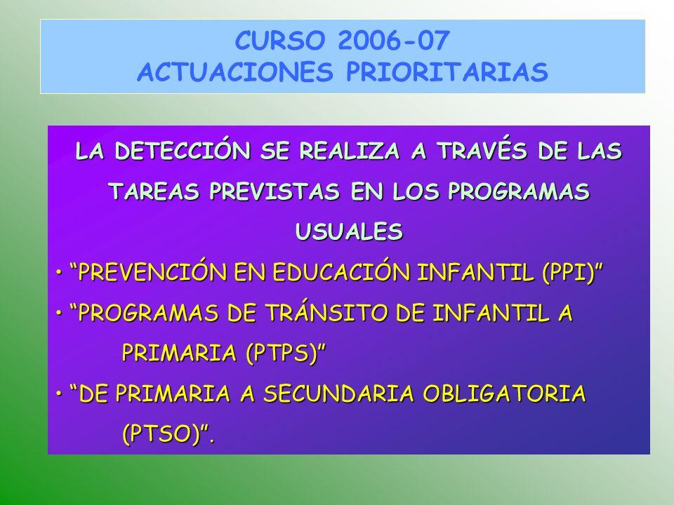 LA DETECCIÓN SE REALIZA A TRAVÉS DE LAS TAREAS PREVISTAS EN LOS PROGRAMAS USUALES PREVENCIÓN EN EDUCACIÓN INFANTIL (PPI) PREVENCIÓN EN EDUCACIÓN INFANTIL (PPI) PROGRAMAS DE TRÁNSITO DE INFANTIL A PRIMARIA (PTPS) PROGRAMAS DE TRÁNSITO DE INFANTIL A PRIMARIA (PTPS) DE PRIMARIA A SECUNDARIA OBLIGATORIA (PTSO).