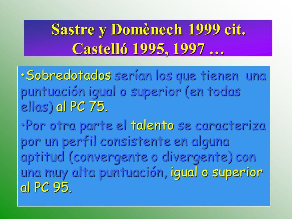 Sastre y Domènech 1999 cit. Castelló 1995, 1997 definen… La superdotación supone la existencia de un perfil formado por la combinación de la totalidad
