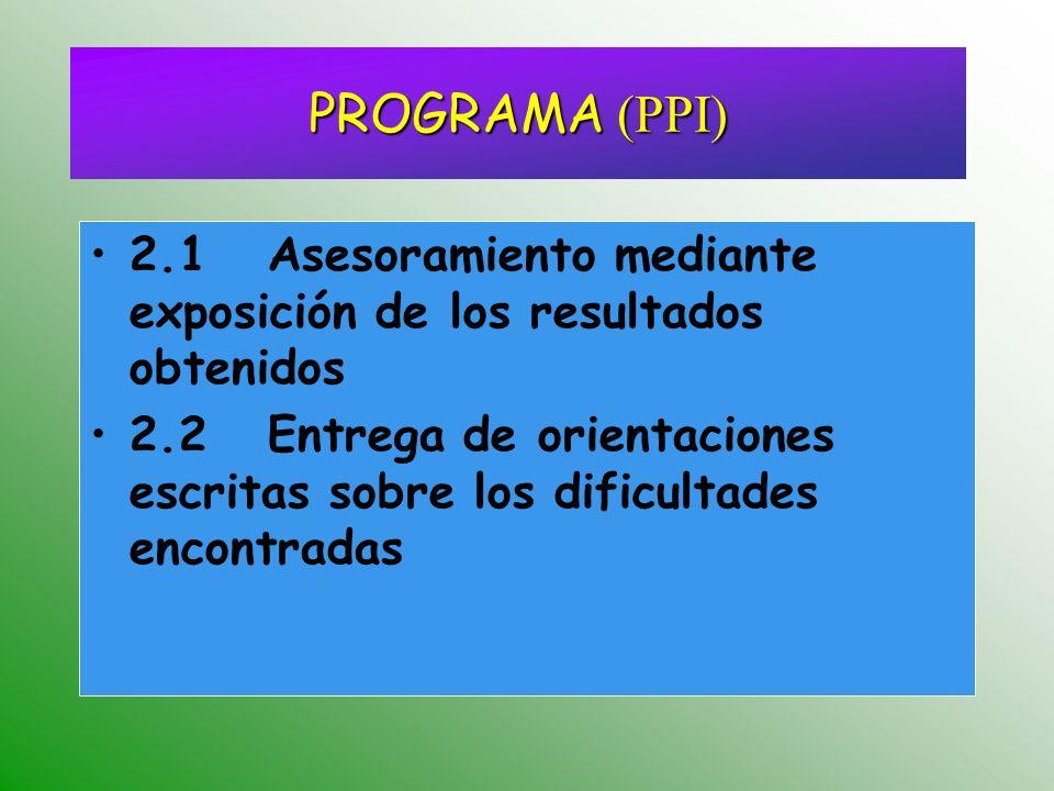 2.1 Asesoramiento mediante exposición de los resultados obtenidos 2.2 Entrega de orientaciones escritas sobre los dificultades encontradas PROGRAMA (PPI)