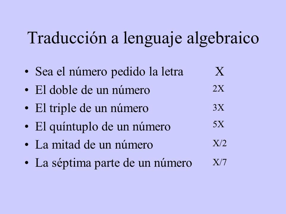 Traducción a lenguaje algebraico Sea el número pedido la letra X El doble de un número El triple de un número El quíntuplo de un número La mitad de un
