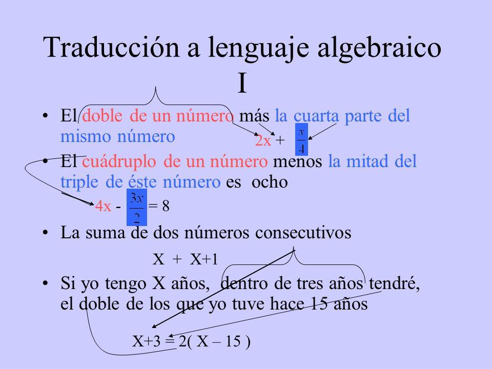 Traducción a lenguaje algebraico I El doble de un número más la cuarta parte del mismo número El cuádruplo de un número menos la mitad del triple de é
