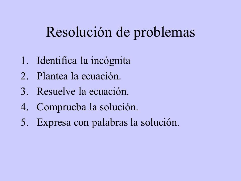 Resolución de problemas 1.Identifica la incógnita 2.Plantea la ecuación. 3.Resuelve la ecuación. 4.Comprueba la solución. 5.Expresa con palabras la so